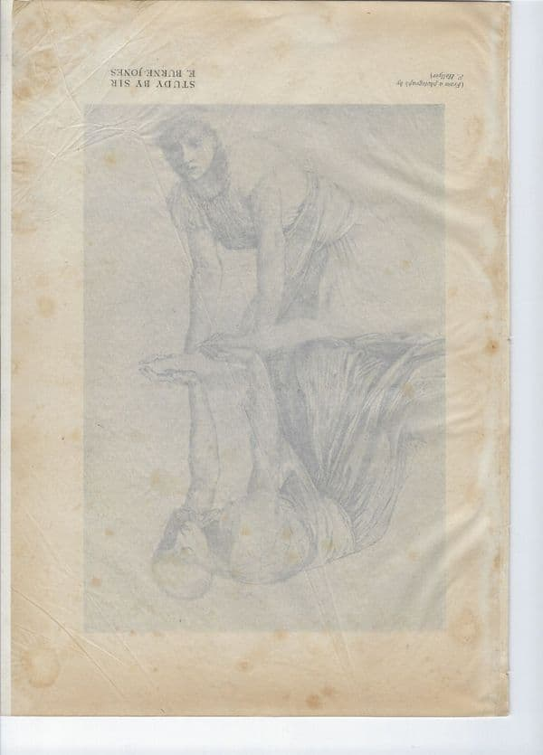 Study By Sir E. Burne-Jones of lady looking at reflection, Lithographic print 1898